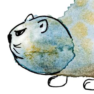 Illustration Portfolio Link Blue Cat watercolor pen and ink