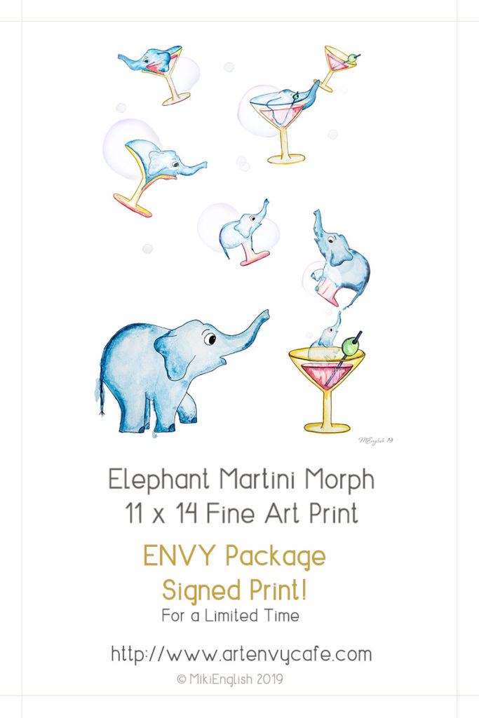 Buy Elephant Martini Morph Print - Signed Print